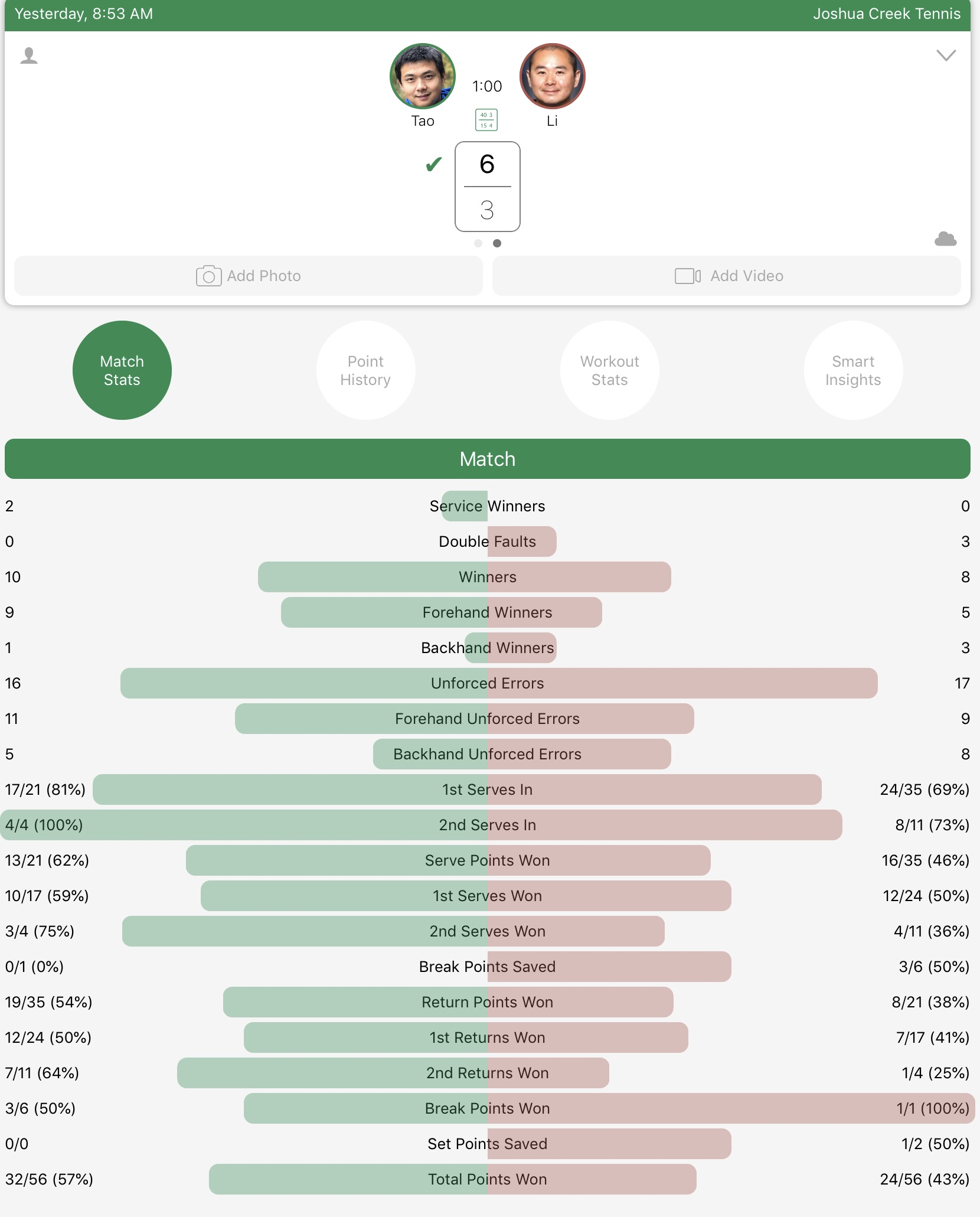 Tennis score tracking and exported data analysis with Apple Watch using Swing App
